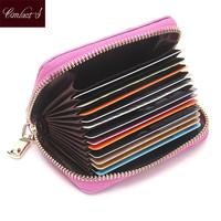 New Fashion Genuine Cow Leather Women Small Wallets Credit  Card Wallet ID Holder Organizer Wallet  Bow  Accordion Card Case