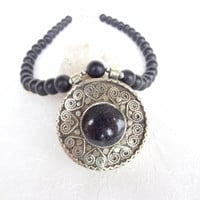 Matte Black Onyx Necklace, Afghan Silver, Statement Necklace Tribal Jewelry, OOAK Jewelry, Christmas