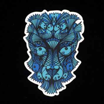 Optical Illusion Blue Lion Sticker, Koi Fish Lion, Animal Sticker Turquoise, Trippy Sticker, M C Esher, Car Sticker, Laptop Sticker, Leo