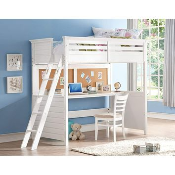 "Twin Size Bed - 83"" X 45"" X 74"" Twin White Poplar Wood Loft Bed With Desk"