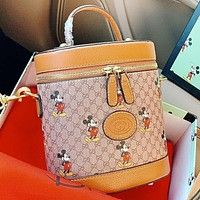 GUCCI & Disney New fashion mouse more letter print leather shoulder bag handbag crossbody bag bucket bag