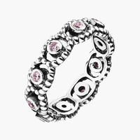 Women's PANDORA 'Her Majesty' Band Ring - Silver/ Pink