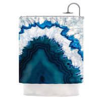 "KESS Original ""Blue Geode"" Nature Photography Shower Curtain"
