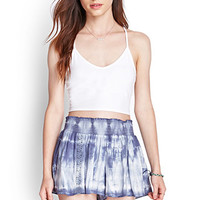 FOREVER 21 Flowy Tie-Dyed Shorts Blue/White