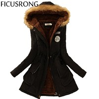 2016 Winter Womens Parka Casual Outwear Military Hooded Coat Winter Jacket Women Fur Coats Women's Winter Jackets And Coats SD30