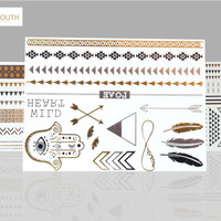 Temporary Tattoos,Metallic,styled,Gypsy,Youth,dream catcher,gold,feather, jewelry,body,paint,festival,rave,gear,boho,cochella,flash