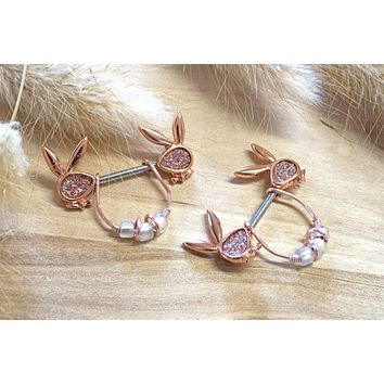 Rose Gold Playboy Bunny Nipple Shield Bar Jewelry Barbell