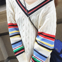 Striped Cable Knit Ribbed Sweater