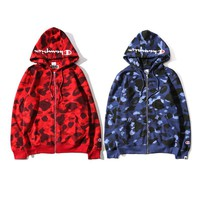 Bape X Champion Camouflage Print Trending Hoodies Zippers Couple Casual Jacket Coat Sweater Blue