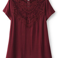 Burgundy Embroidery Lace Key Hole Back T-shirt