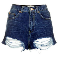 MOTO Ripped High Waisted Shorts - Mid Stone