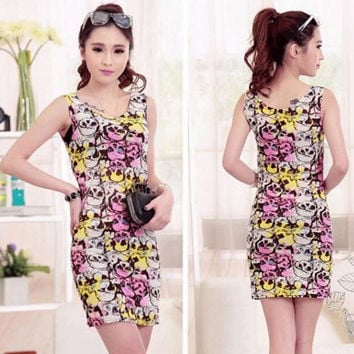 Summer print Sleeveless Dress For Women