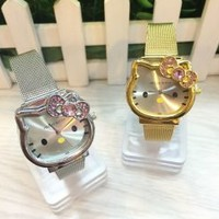 So Cute Hello Kitty Stainless Steel Women's Watch with Crystal with BOX - Smoky Mountain Boutique