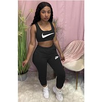 NIKE women new fashion printing casual sports two-piece suit