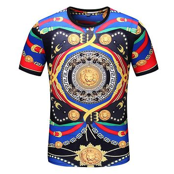 Versace classic personality lion head Medusa pattern fashion men and women round neck short sleeve top T-shirt