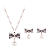 Crystal Pearl Bow Earrings Necklace Jewelry Set