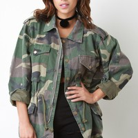 Camouflage Zip Up Utility Jacket