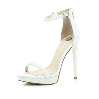 River Island Womens White platform barely there sandals