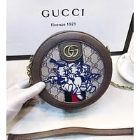 GUCCI Women New Fashion Embroidery Letter More Letter Leather Shoulder Bag