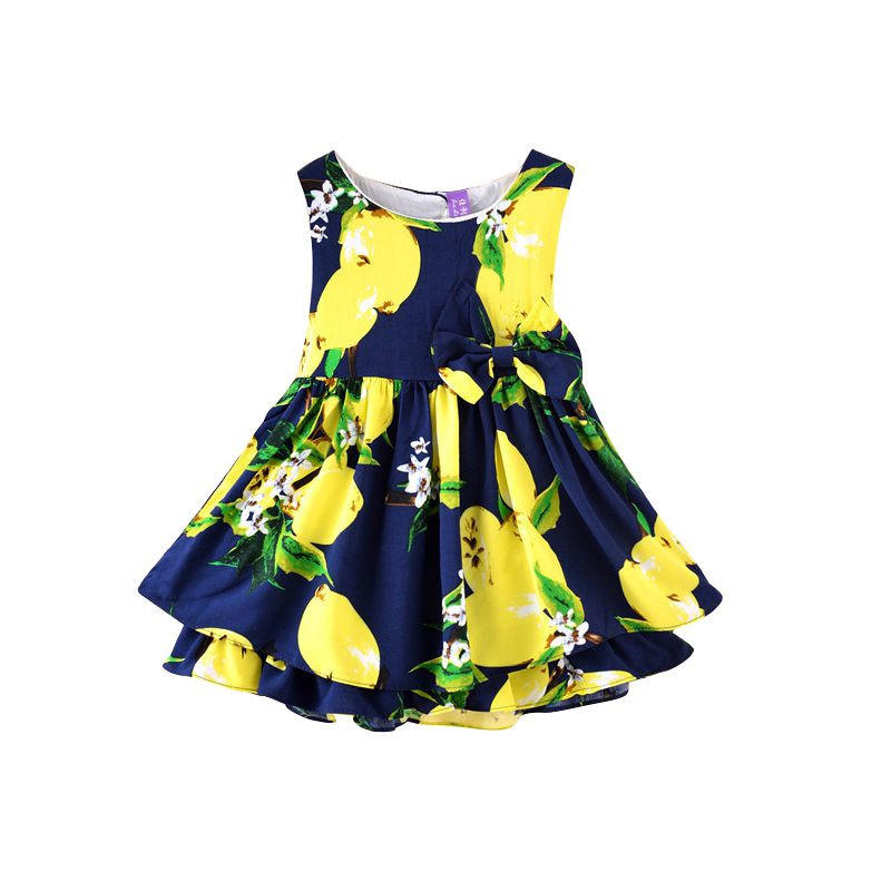 Image of New Sleeveless Ball Gown Girl Dress Print Bow Baby Dress Girls Clothes Children Dresses 2-6 Years