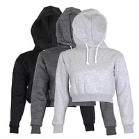Full Hoodie Coats New Brief Casual Clothes Women Women Ladies Clothing Tops Plain Crop Top Hooded