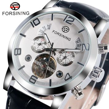 FORSINING Luxury Brand Fashion Mechanical Watch Men Automatic Self-Wind Leather Band Wrist Watches Year Display Men's Clcok Gift