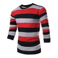 2016 New Arrival Fashion Striped Sweater Men Long Sleeve O-Neck Collar Knitted Sweater Top Quality Brand Clothing