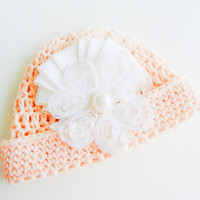 Baby Hat, Newborn Girl Hat, Crochet Baby Hat, Newborn Photo Prop decorated with flowers and beads lace