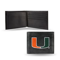 Leather Wallets For Women Miami Hurricanes Embroidery Billfold