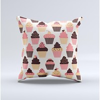 Yummy Subtle Cupcake Pattern Ink-Fuzed Decorative Throw Pillow