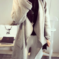Casual Long Sleeve with Pocket Accent Knitted Coat