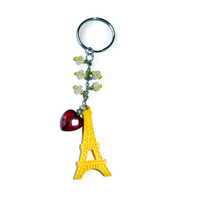 Yellow Eiffel Tower Key chain with Red Crystal Heart