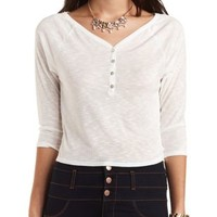 Cropped Slub Knit Henley Top by Charlotte Russe