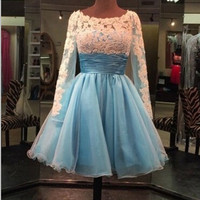 Long Sleeve Scoop White Applique Organza Short Homecoming Dress