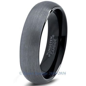6mm Brushed Silver Tungsten Domed Brushed