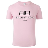 Balenciaga 2019 new breathable cotton men and women round neck half sleeve T-shirt Pink