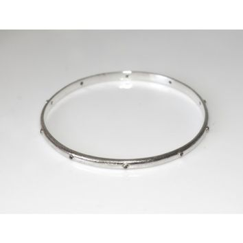 Circle & Square | SS Bangle with Black Diamonds