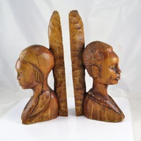 Mahogany Tribal Bookends - Carved Wood Man Woman - Old World African Decor Style