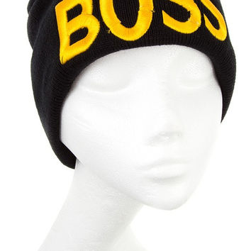 + Embroidered BOSS Beanie In Black
