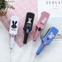 2 in1 Mini hair curler straightener electric hair straightening iron curling comb portable small curlers cute hair styling tool