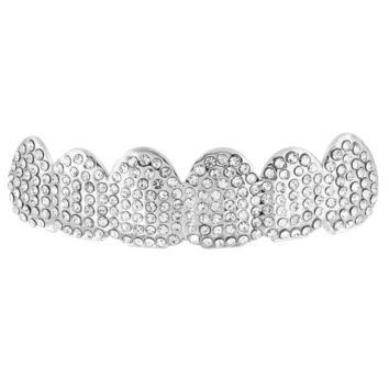 14k White Gold Fully  Top Teeth Grillz For Mens