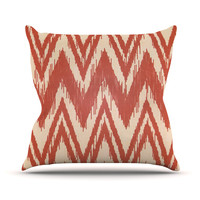 "Heidi Jennings ""Tribal Chevron Red"" Tan Maroon Outdoor Throw Pillow"