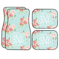 Pale Blue Floral Roses Car Mat /Plate & Frame / Seat belt cover / Key Chain / Car Coaster / Car Accessory Gift  Set