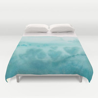 "Aqua Teal Watercolor Duvet Cover or Comforter, ""Waves of Love"" duvet or comforter,  white, beautiful, bedroom decor, coastal"