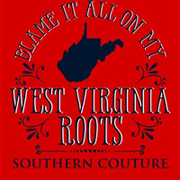 Southern Couture Blame it on my West Virginia Roots State Pattern Girlie Bright T Shirt