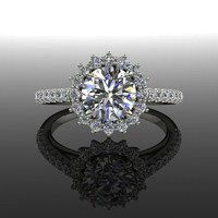 Cluster or Flower Style Diamond Halo Engagement Ring 1.40 CTW