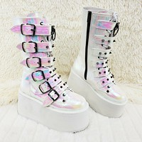"Damned 225 Multi Strap Goth Punk Rock 3.5"" Platform Boots Iridescent Pearl NY"