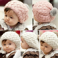 Newest Fashion Baby Kids Girls Cute Warm Winter Knit Crochet Beanie Hat Cap = 1958434948
