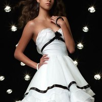 White Sweetheart Beadings Short Cocktail Dress - Basadress.com