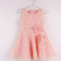 Kids Girls Toddler Baby Lace Princess Party Dresses Clothes 2-7Y